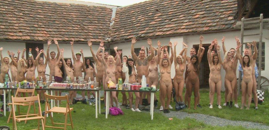 pic of Sally having fun exposing her genitals at a czech gardenparty